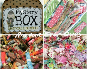 Mystery Box-Scrap Fabric bundles-I spy fabric scraps-Quilting fabric scraps-Cottage chic fabric scraps-Quilting cotton scrap fabric bundles