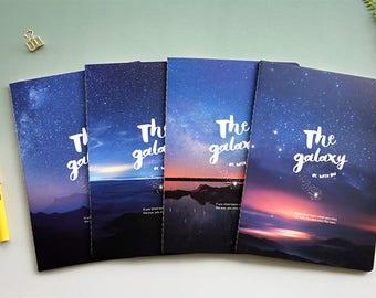 B5 Galaxy Lined Notebook,Minimalist Notebook, Blank Notebook, Scenery, Travel, Planner Insert, Journal,Summer,Sky, Galaxy