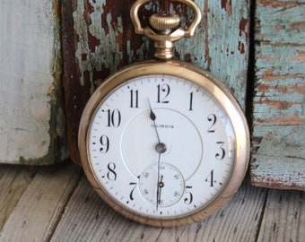 Antique Illinois Pocket Watch - Old Pocket Watch - Vintage Illinois Watch - by avintageobsession on etsy - FREE USA Shipping - 20% Discount