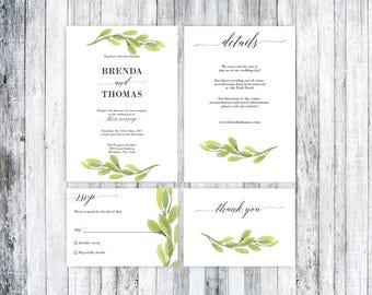 Rustic Wedding Invitation, Wedding invitation template, Greenery Wedding Invitation Template, Wedding Invitation Template, Printable Wedding