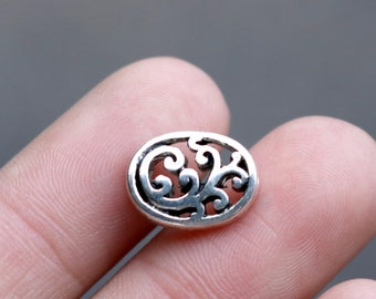 set of 25, Celtic filigree beads, oval beads, silver beads, metal beads, 13mm ×10mm,