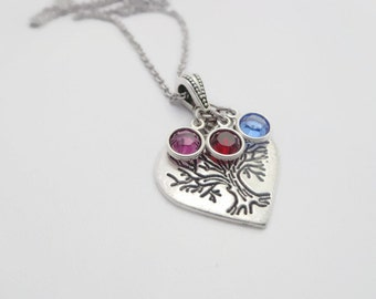 Mothers Day Gift, Tree of Life Jewelry ,Tree of Life Children's Birthstone Necklace , Gift For Mom Grandma Daughter Her From Husband Son