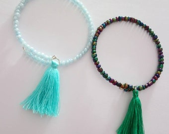 Beaded bracelet and tassel for girls or women