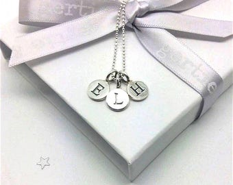 Initial Necklace, Personalized Necklace, Birthday Gift for Mum, Mothers Day Gift, Necklace for Nana, Childrens Initials Necklace, Silver