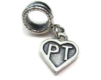 Physical Therapist Charm for European Bracelets, Sterling Silver PT Jewelry, Personal Trainer Gift