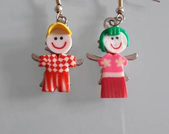 Earrings in polymer clay character