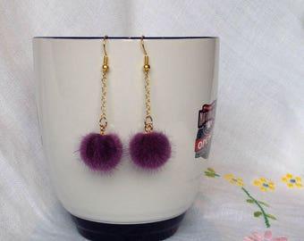 Purple Faux-fur Drop Earrings