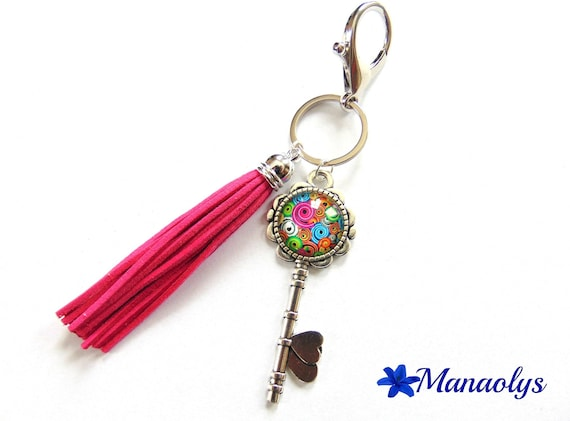 Key ring or jewelry bag, silver key and glass cabochons, round multicolored tassels fuchsia 116