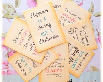 Quote Pocket Letter Journal Cards ... 2 1/2 x 3 1/2... Scrapbooking, Cardmaking, Journaling, Smash Book, Words to Live By, Variety