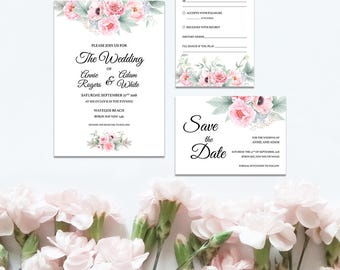Printable Pink Peonies Wedding Set