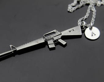 Military Gift Machine Gun M 16 Necklace Rifle Pendant Army Sniper For
