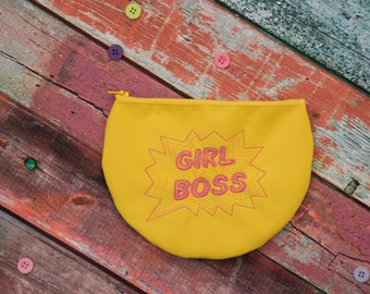 Girl Boss Embroidered Zipper Pouch in Yellow, Cosmetic bag, Toiletry storage