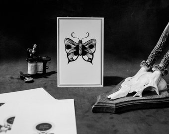 Butterfly Tattoo Flash Art Print. Card 10 x 15 cm