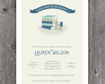 New Chapter - Custom Baby Shower Invitation