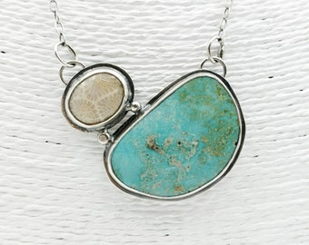 Handmade Sterling Silver Necklace with Stunning Nevada Kingman Turquoise and Fossil Coral