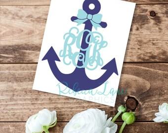 Bow Anchor nautical Monogram Decal