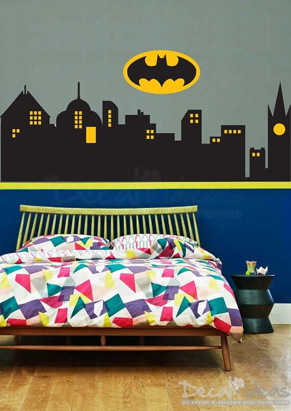Superhero Wall Decal City Skyline Vinyl Decal Gotham City