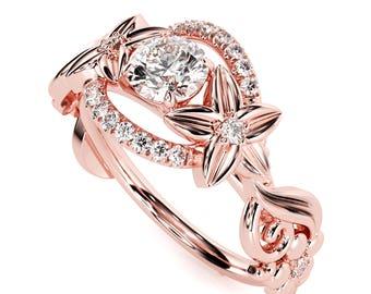 Halo Diamond Engagement Ring 14K Rose Gold Floral Ring Half Carat Total Natural Diamond Engagement Ring