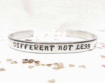 Autism Bracelet, Autism Jewelry, Autism Awareness, Hand Stamped Bracelet, Different not Less