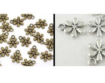 Trailer, flower, flowers, charm, silver, bronze