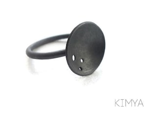 Oxidized Silver Ring, Moon Ring, Minimalist Ring, Simple Silver Ring, Black Ring, Contemporary Ring, Statement Ring, Unique Ring, KimyaJoyas