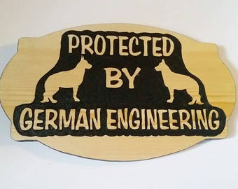 German Shepherd, Home Security Sign, German Shepherd Sign, German Engineering, Dog Sign, German Shepherd Lovers, Carved Wood Sign