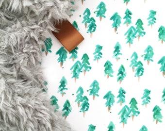 Lovey Pine Trees. Lovey. Woodland Lovey. Tree Lovey. Green Lovey. Mini Baby Blanket. Security Blanket. Lovie. Minky Lovey.