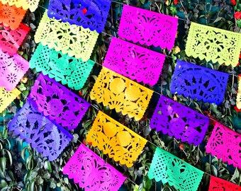 Mexica Papel picado banner 60 Ft long, Mexican style Party, Aztec home decor, Paper picado Garland, Fiesta Decoration,Papel Picado, WS100