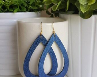 Sapphire Vegan Leather Hoop Earrings | Faux Leather Earrings| Lightweight Earrings | Leather Hoop Earrings
