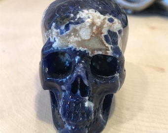 "Skull 2.0"" Sodalite *Carved Crystal* Realistic *Crystal Healing* Awesome"