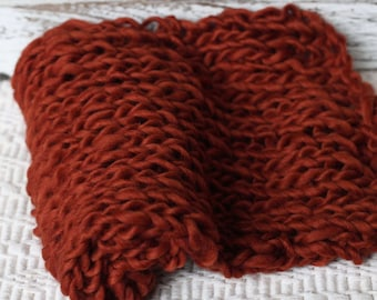 Rust Orange Roving Wool Bump Blanket, Thick Wool Layer