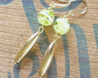 Green and Gold Classic Handcrafted Dangle Earrings