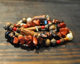 Beaded Bracelet, Multi Strand Bracelet, Elastic Bracelet, Tribal Bracelet, Boho Chic, Artsy Bracelet, Trendy Bracelet, Earth Tone Bracelet