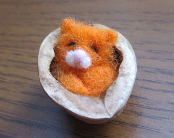 Little Cat sleeps in the walnut, Needle Felted Cat. Felted Toy. Figurines Sculpture Animals