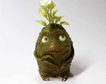Baby Mandragora root - OOAK Handmade figurine made of polymer clay