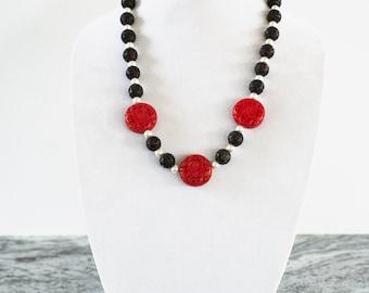 Women's Necklace Statement Necklace Handmade Jewelry Elegant Classic Jewelry Red Cinnabar Black Cinnabar Pearls Black, White, Red Fashion