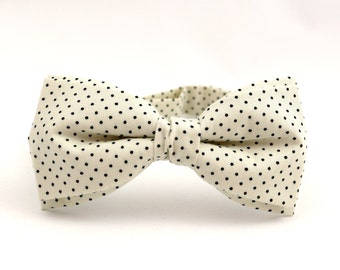 Ivory Bow Tie for Men Polka Dots Bow Tie Wedding Bow Tie Mens Bow Tie Groomsmen Bow Tie Gift for Men Creme Bow Tie Groom Gift for Grooms