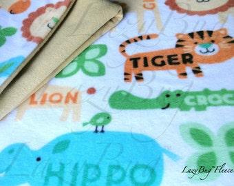 Zoo Animal Bedding Pack N Play Sheet and Blanket Set Handmade Fleece Bedding Set for Babies 'Animal Words' Print
