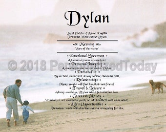 Dad Name Meaning Origin Print Name Personalized Certificate 8.5 x 11 Custom Name Fatherhood Beach Ocean Marine Dog Boy Single Dad Gift Idea