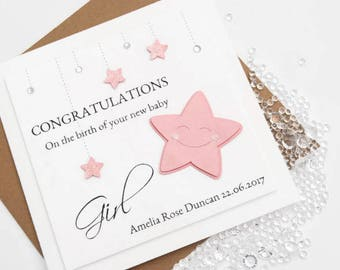 Personalised New Baby Girl Card Congratulations Twinkle Star Pink