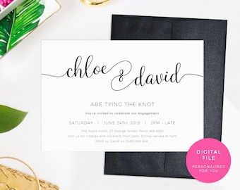 Tying the knot Engagement Invitations, PRINTABLE Elegant Engagement invites, Simple Engagement party invitations Black, Gold, Rose gold pdf