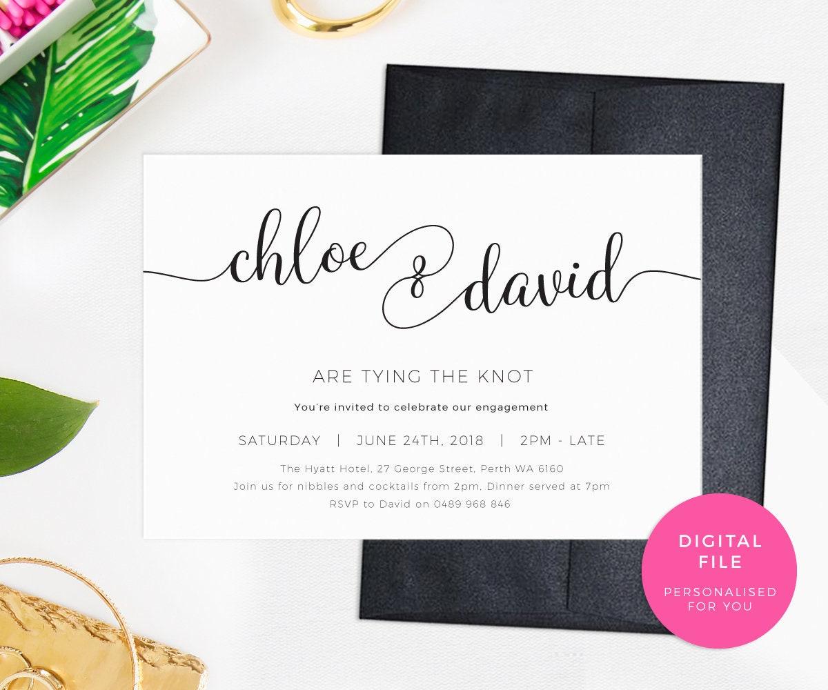 Tying the knot Engagement Invitations PRINTABLE Elegant