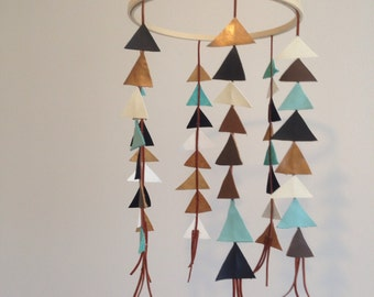 Nursery Mobile // Leather Triangles // Baby Shower Gift  // Neutral Baby Room //