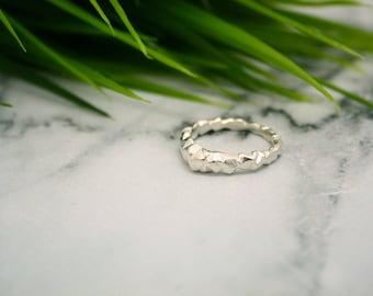 Earthen II Silver Organic Stacking Ring