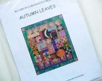 Fall Quilt Pattern, Autumn Leaves by Mother on a Broomstick Designs, Scrap Quilt Pattern, Fall Patchwork Pattern, Pumpkin, Moon