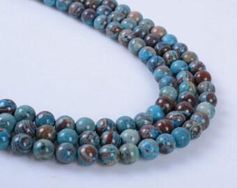 "4MM309 4mm Blue veins stone round ball loose gemstone beads 16"""