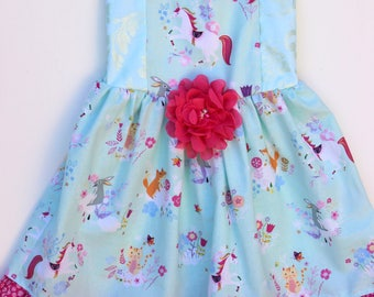 Unicorns Girls Dress, toddler dress, party dress,birthday dress, baby dress, twirl dress,