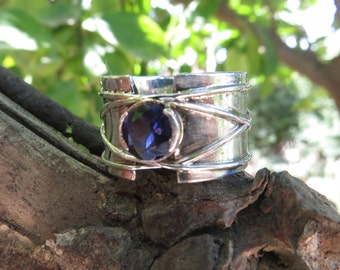 Sterling Silver ring with Iolite stone, water-sapphire, Statement Ring, Natural stone, knot ring, tied ring, Blue stone, Wrapped Wire Ring