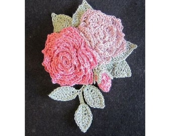 handmade croecht romantic rose flower motif brooch corsage for party, wedding, gift ship from Japan