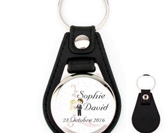 Wedding personalized name leather keyfob